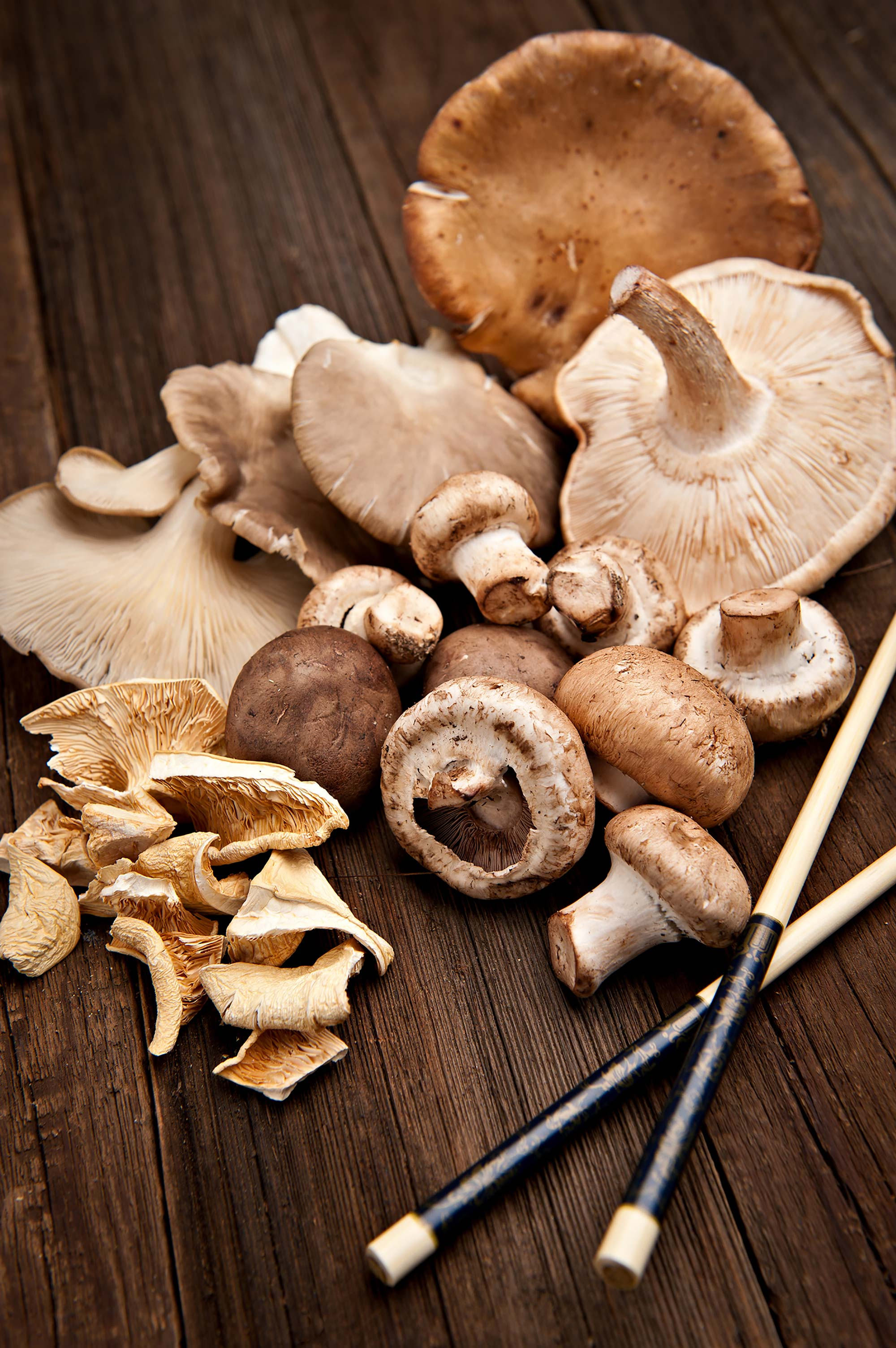 variety of mushrooms with chopsticks